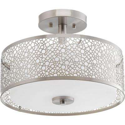Mingle Collection 17-Watt Brushed Nickel Integrated LED Semi-Flushmount