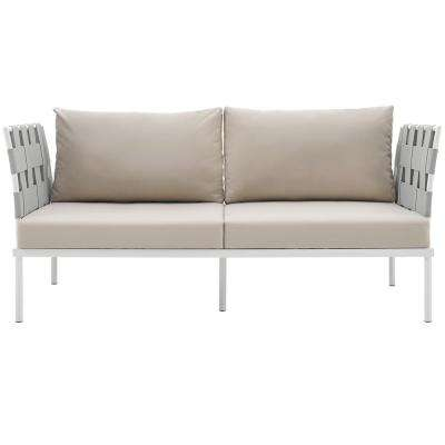 Harmony Aluminum Patio Outdoor Loveseat in White with Beige Cushions
