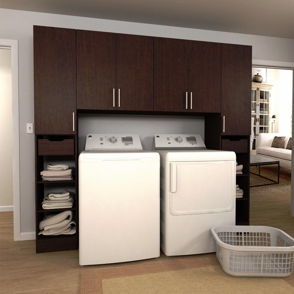 W Mocha Tower Storage Laundry Cabinet Kit