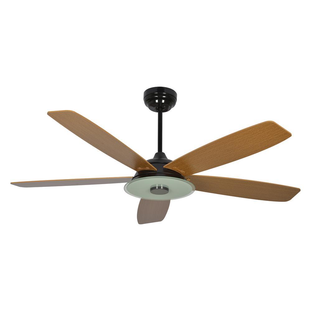 Striker 52 in. Integrated LED Indoor Black Smart Ceiling Fan with Light Kit