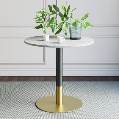 Lucy White Carrara Faux Marble Table Top with Black and Gold Pedestal Base Modern Kitchen or Dining Table