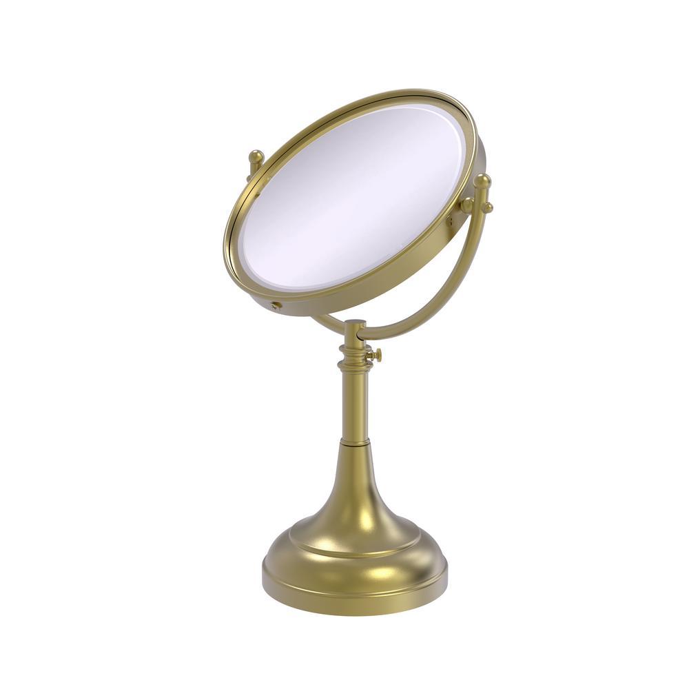 8 in. x 23.5 in. x 5 in. Vanity Top Makeup Mirror 2X Magnification in Satin Brass