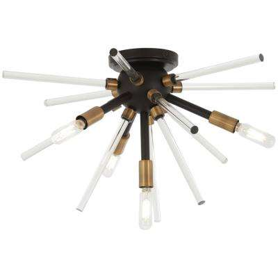 Spiked 4-Light Painted Bronze with Natural Brushed Brass Flushmount