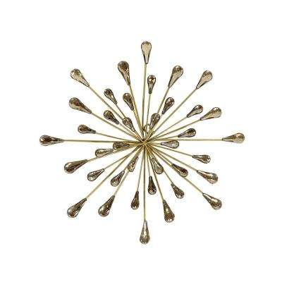 13 in. Metal and Acrylic Gold Starburst Wall Art