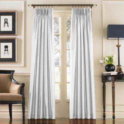 Marquee White Light Filtering Pinch Pleat/Back Tab Lined Curtain Panel - 30 in. W x 84 in. L