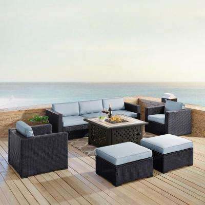 Biscayne 7-Piece Wicker Outdoor Seating Set with Mist Cushions