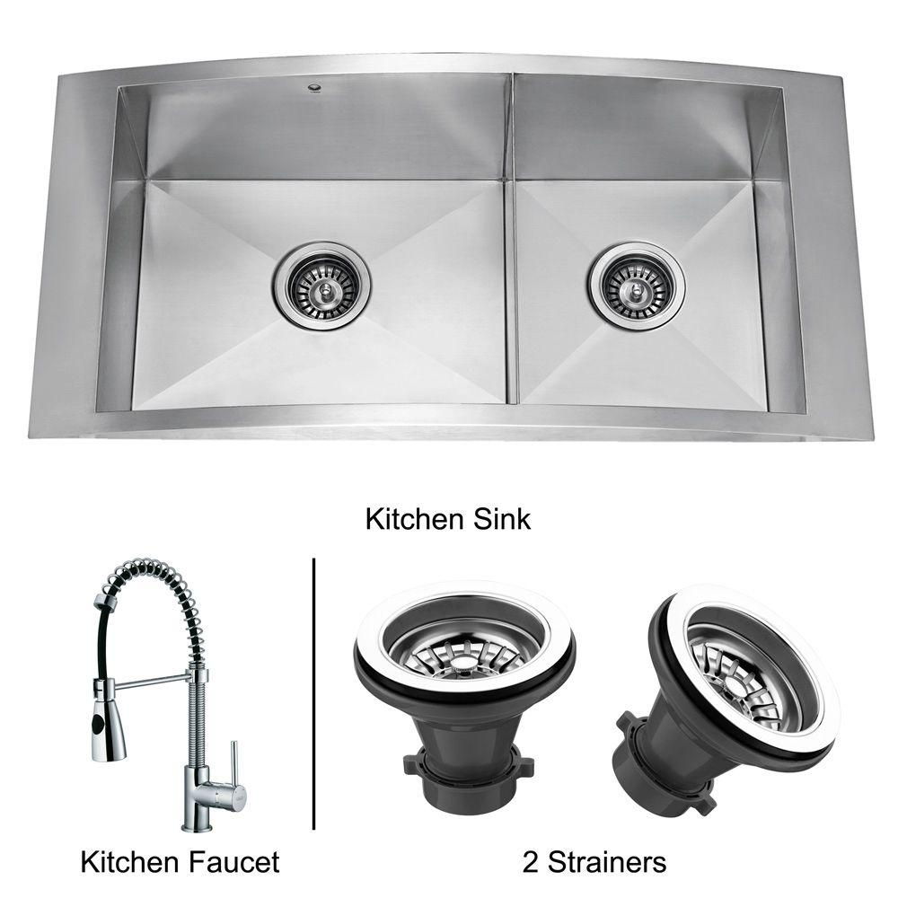 Vigo All-in-One Drop-In Stainless Steel 36 x 17.5 x 8-3/4 2-Hole Double Basin Kitchen Sink-DISCONTINUED