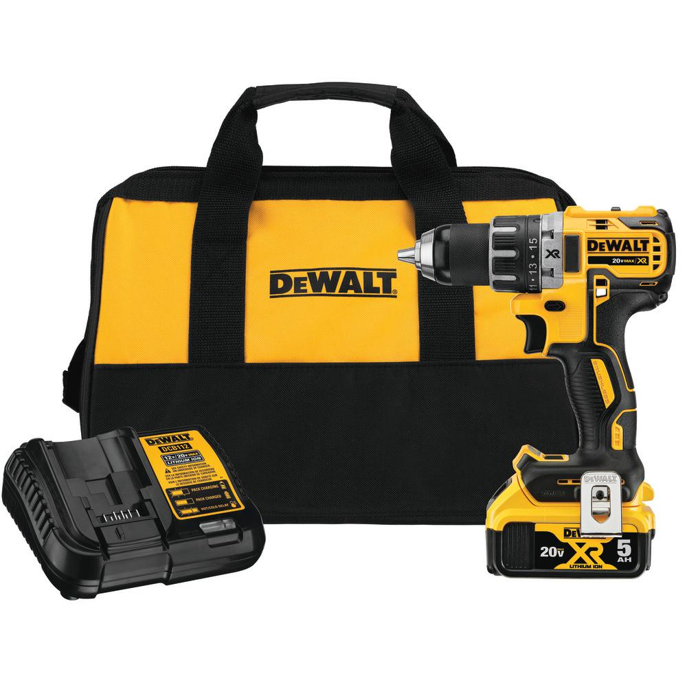 20-Volt MAX XR Lithium-Ion Brushless Cordless 1/2 in. Drill/Driver with 5 Ah Battery, Charger and Tool Bag