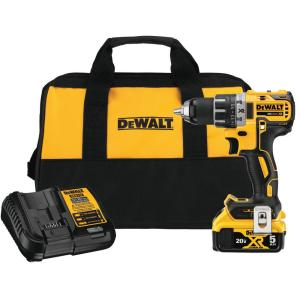 20-Volt MAX XR Cordless Brushless 1/2 in. Drill/Driver with (1) 20-Volt 5.0Ah Battery, Charger & Bag
