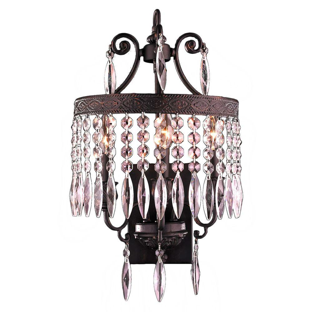 Worldwide Lighting Enfield Collection 3-Light Flemish Brass Crystal Sconce