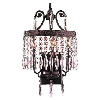 Enfield Collection 3-Light Flemish Brass Crystal Sconce