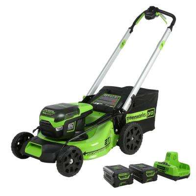 PRO 21 in. 60-Volt Lithium-Ion Cordless Battery Self Propelled Mower with 2 4.0 Ah Battery and Charger Included