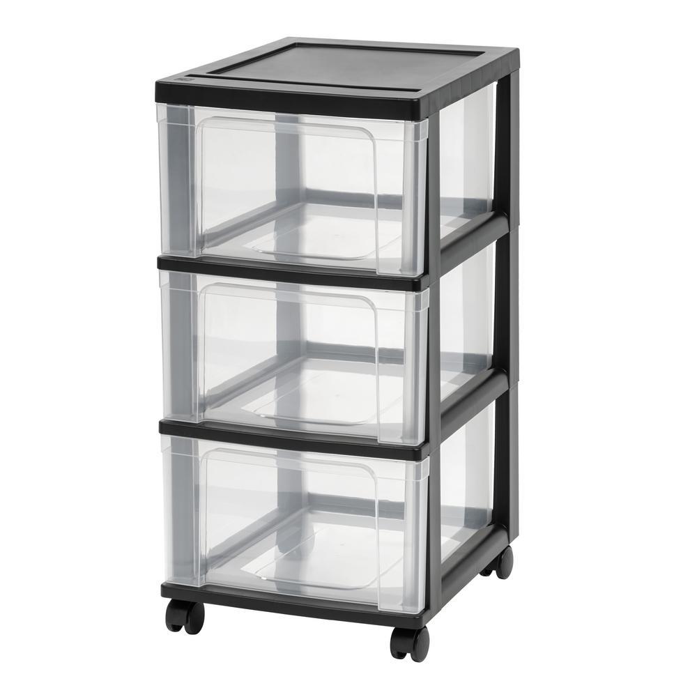 3-Drawer Plastic Wheeled Storage Cart in Black