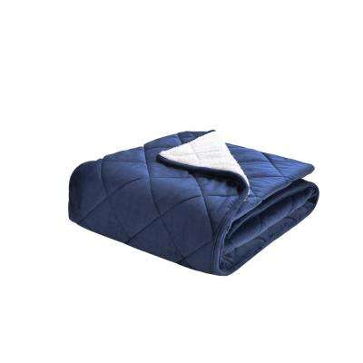 Velvet and Sherpa Foot Pocket Throw in Vintage Indigo