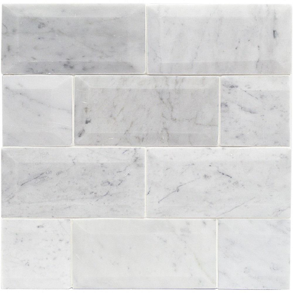 White Carrara Beveled 3 In X 6 9mm Polished Marble Subway Tile 40 Pieces 5 Sq Ft Box