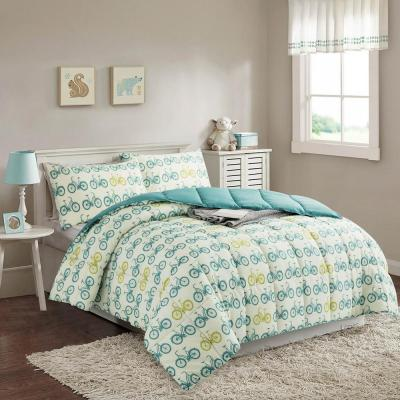 Classic Bicycles 2 Piece Blue/Green Microfiber Twin Comforter Set