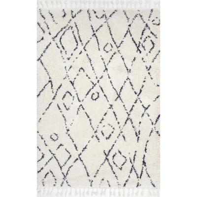 Nieves Moroccan Diamond Tassel Off-White 6 ft. Square Rug