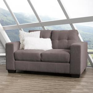 Corliving Club 3 Piece Tufted Grey Chenille Fabric Sofa
