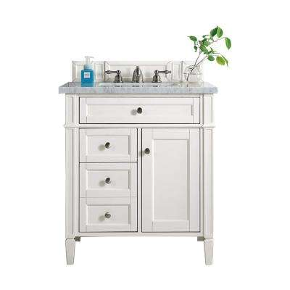 Brittany 30 in. W Single Vanity in Cottage White with Marble Vanity Top in Carrara White with White Basin