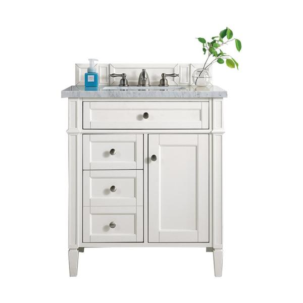 Brittany 30 in. W Single Bath Vanity in Cottage White with Marble Vanity Top in Carrara White with White Basin