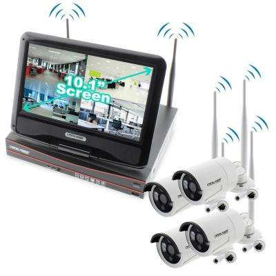 4-Channel True HD 2TB HDD Wireless NVR CCTV Kit with 4 Autopair Waterproof Cameras Built-In Monitor and Router
