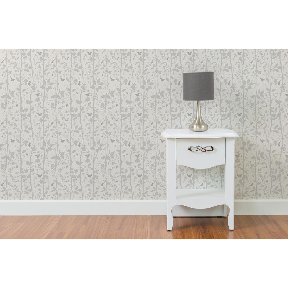 56.4 sq. ft. Dazzle Meadow Silver Butterfly Wallpaper