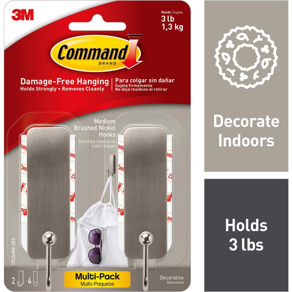 Command Medium Brushed Nickel Hooks (2-Hooks and 4-Adhesive Strips)