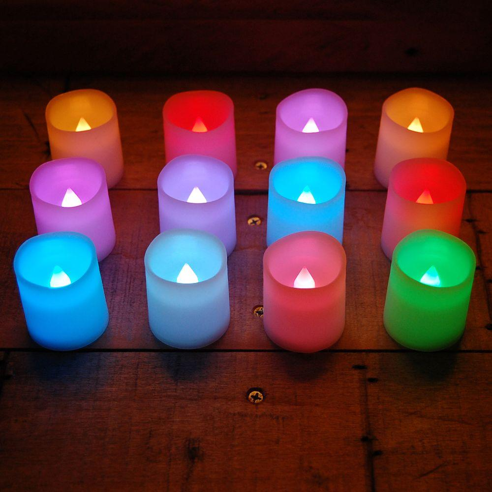Lumabase Lumabase 1.5 in. H Color Changing Votive LED Candle (Set of 12), Red Green Blue