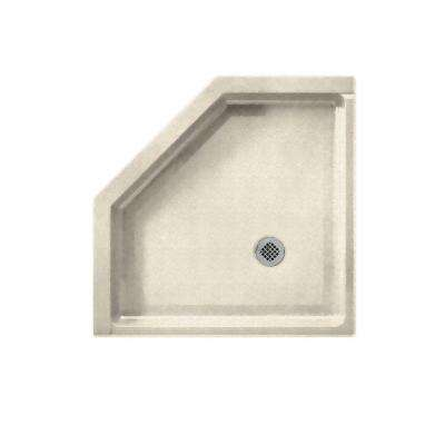 Neo Angle 38 in. x 38 in. Single Threshold Shower Floor in Pebble