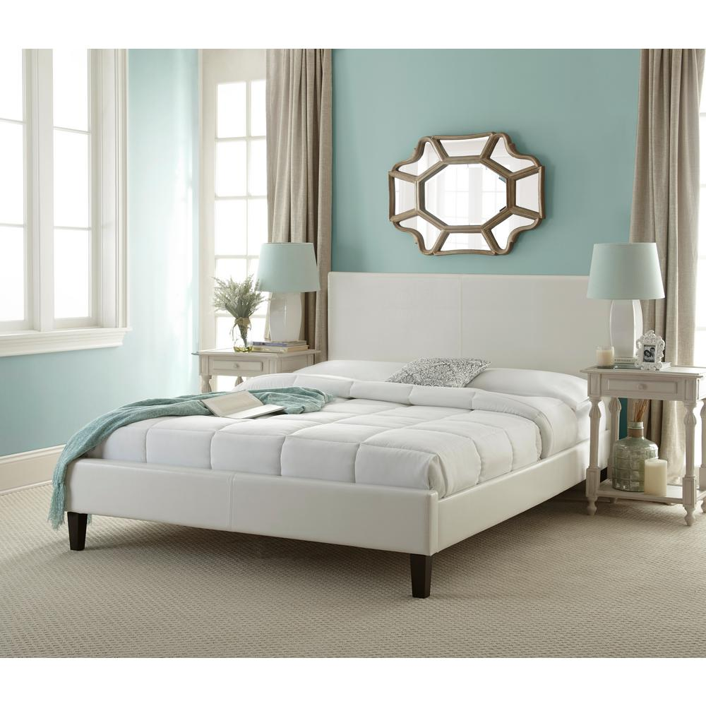 Rest Rite White Queen Upholstered Bed