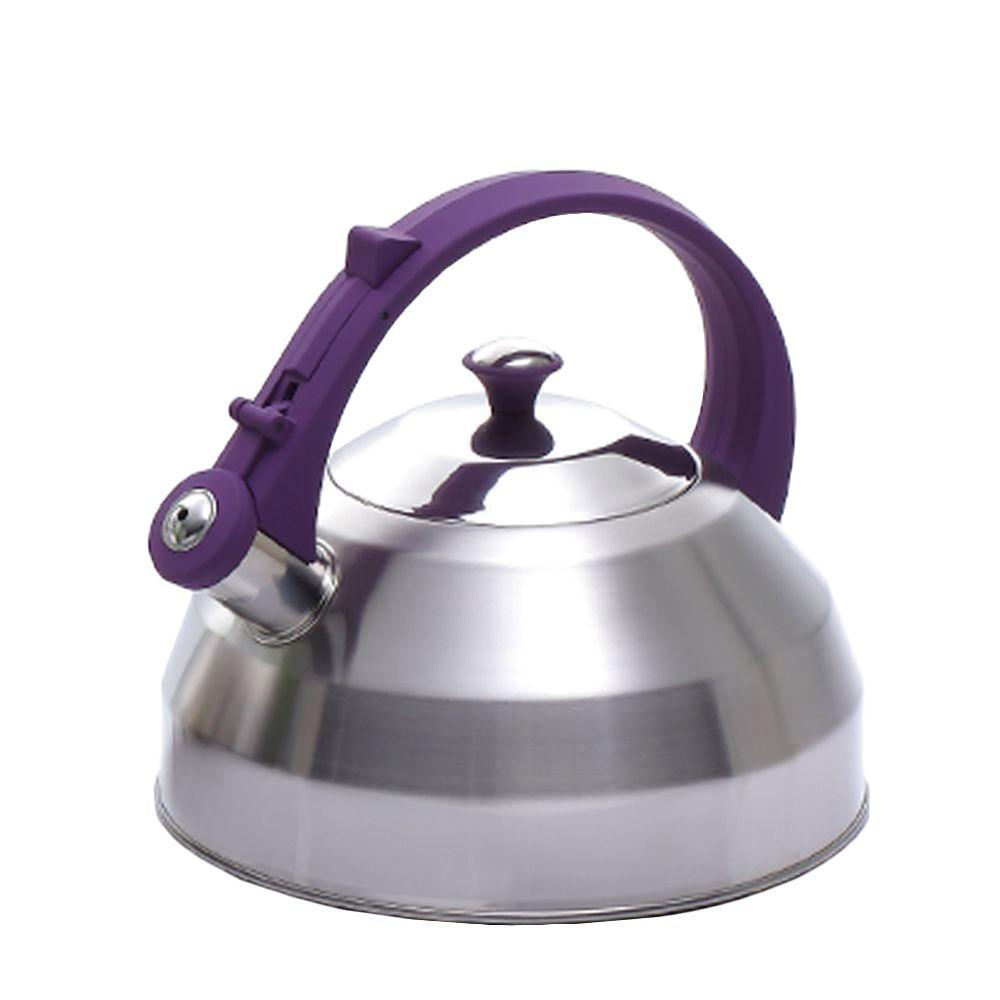 Creative Home Steppes 11-Cup Tea Kettle in Stainless Steel with Purple Silicone Handle/Knob-DISCONTINUED