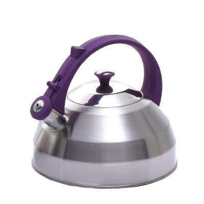 Steppes 11-Cup Tea Kettle in Stainless Steel with Purple Silicone Handle/Knob
