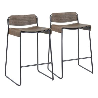 Dali 26 in. Industrial Low Back Counter Stool in Espresso Wood and Black Metal (Set of 2)