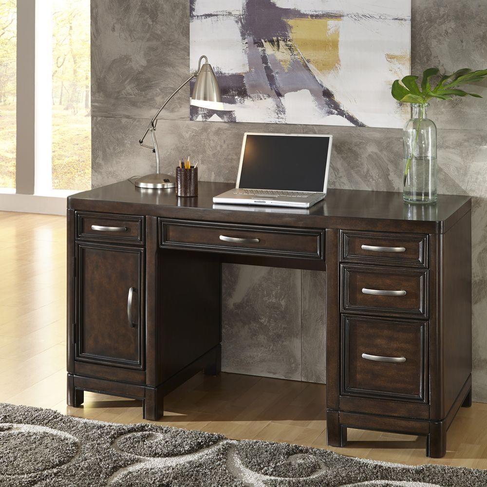 Home Styles Crescent Hill Dark Tortoise Shell Desk, Two-T...