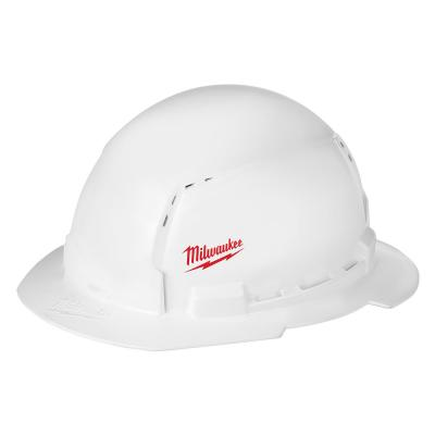 BOLT White Type 1 Class C Full Brim Vented Hard Hat with Small Logo