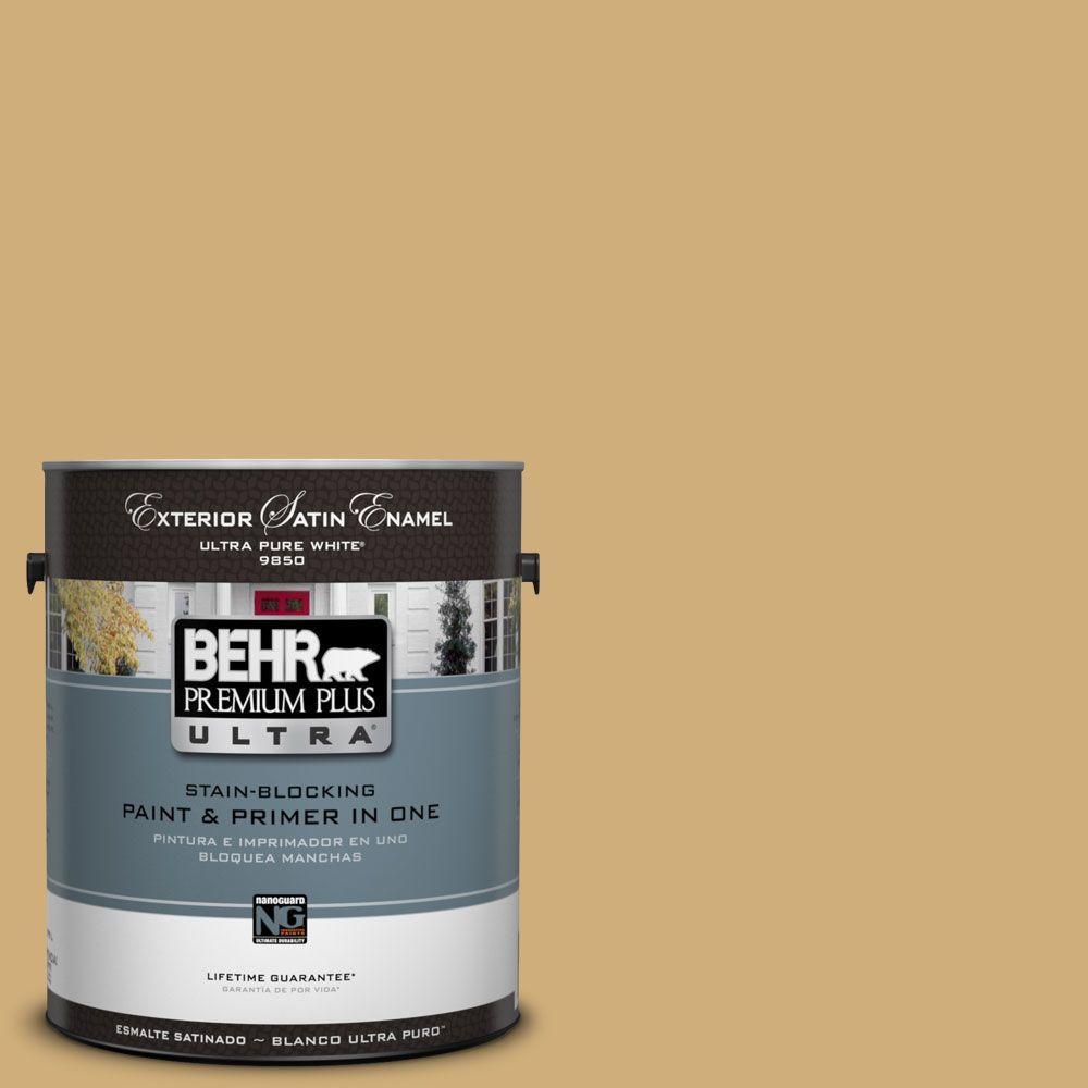 BEHR Premium Plus Ultra 1-Gal. #UL180-23 Romanesque Gold Satin Enamel Exterior Paint
