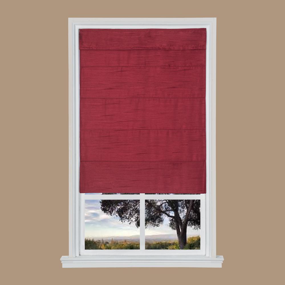 Merlot Faux Silk Cordless Fabric Roman Shade - 35 in. W x 64 in. L