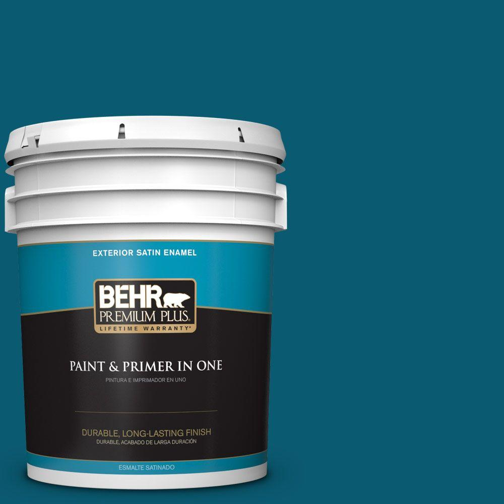 BEHR Premium Plus 5-gal. #540D-7 Deep Blue Sea Satin Enamel Exterior Paint