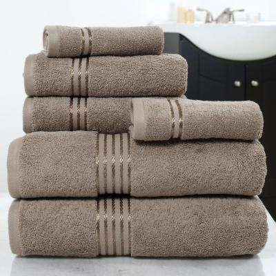 100% Egyptian Cotton Hotel Towel Set in Taupe (6-Piece)