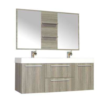 The Modern 54.25 in. W x 18.75 in. D Bath Vanity in Gray with Acrylic Vanity Top in White with White Basin and Mirror