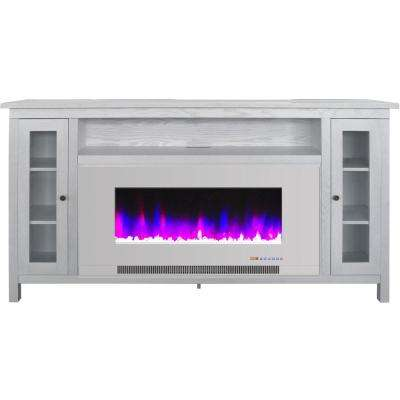 Somerset 70 in. White Electric Fireplace TV Stand in Multi-Color with LED Flames Crystal Rock Display and Remote Control
