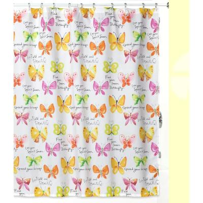 'Flutterby' by Kathy Davis Multi-Colored Nature-Themed Shower Curtain/Curtain Hooks/Rug Set