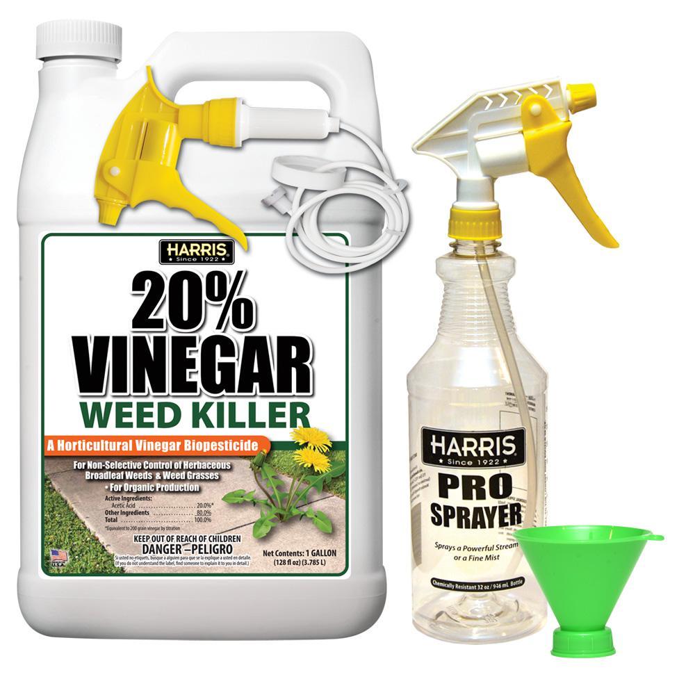 128 oz. 20% Vinegar Weed Killer and 32 oz. Professional Spray Bottle