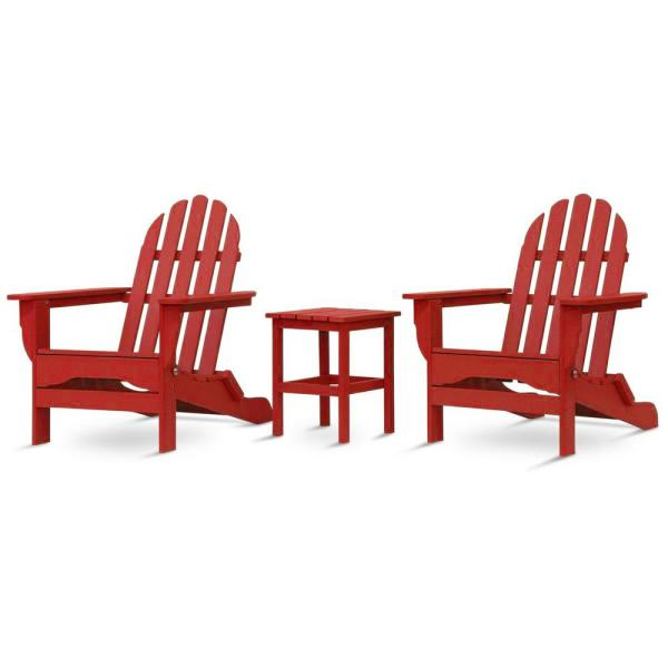Icon Bright Red Recycled Plastic Folding Adirondack Chair with Side Table (2-Pack)