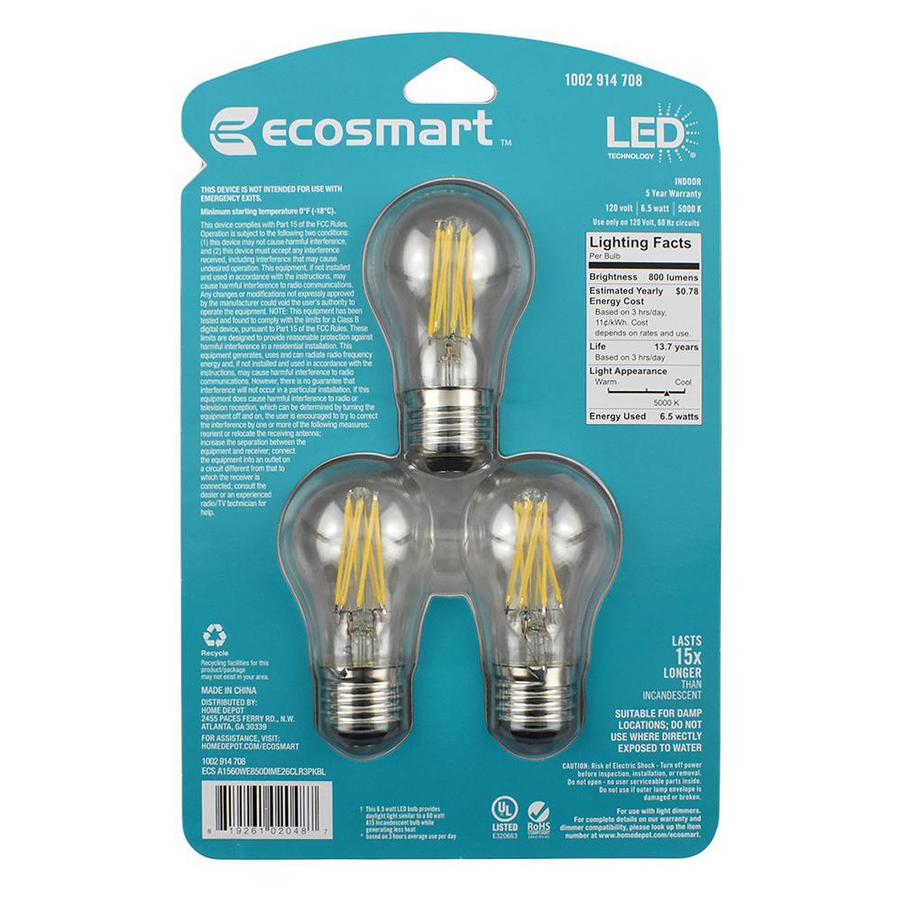 Ecosmart 60 Watt Equivalent A15 Dimmable Clear Gl Decorative Filament Vintage Edison Led Light Bulb Daylight 48 Pack