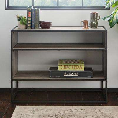40 in. Grey Wash Metal and Wood Storage Console