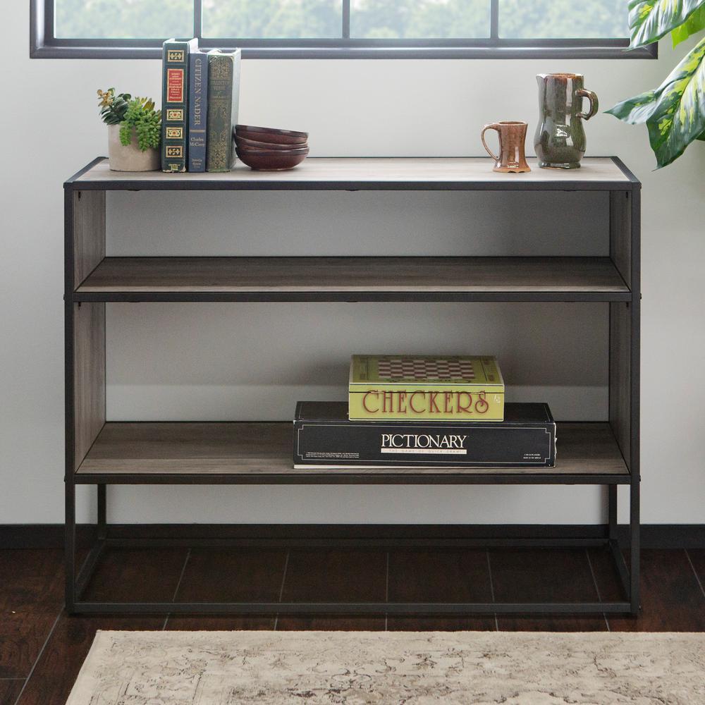 Walker Edison Furniture Company 40 in. Grey Wash Metal and Wood