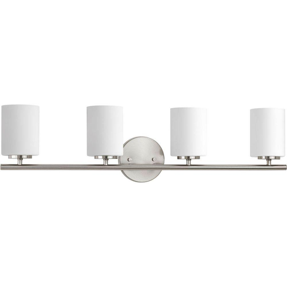 Progress Lighting Replay Collection 4 Light Brushed Nickel Vanity With Etched Opal Glass Shades P2160 09