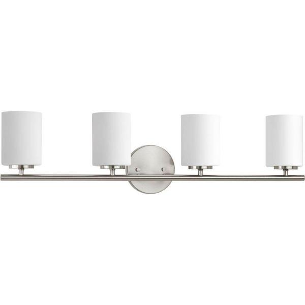 Replay 30.13 in. 4-Light Brushed Nickel Bathroom Vanity Light with Glass Shades