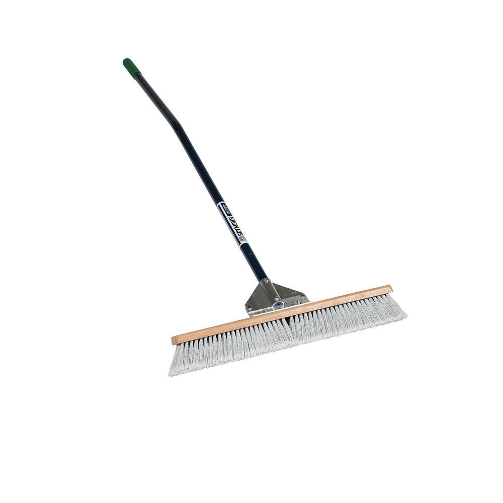 24 in. Duo Push Broom with 60 in. Ergonomic Blue Aluminum Handle